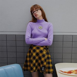 Casual Slim T Shirt Women Long Sleeve Tees Shirt Letter Embroidery T Turtleneck Autumn Purple Fashion shirt New