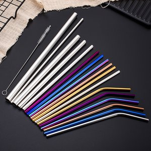 304 Stainless Steel Straw Creative Color Straight Tube Elbow Set Milk Tea Beverage Cocktail Straw Cleaner Brush Bar Drinking Tool FreeDHL