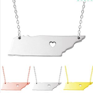 stainsale steel US map Tennessee state & Delaware State S925 silver Geometric pendant necklaces statement necklace charm jewelry women .