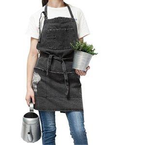 Professiona Korean Adjustable 100% Cotton Denim Apron Kitchen Aprons For Woman Adult Baking Smock Chef Cafe Unisex Jeans Apron LJ200815
