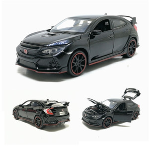 1:32 HONDA CIVIC TYPE-R Toy Car Metal Toy Diecasts Toy Vehicles Car Model Sound Light Pull Back Car Toys For Children Gifts X0102
