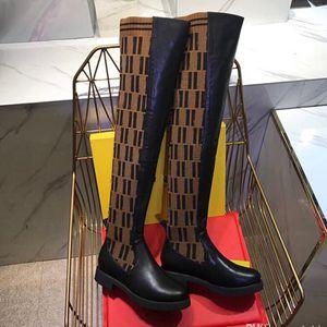 Mode Luxus Frauen Schuhe über den Kniestiefeln 2021 Neue Superstars Womens Oberschenkel Hohe Stricksocken Stiefel Größe EU35-41