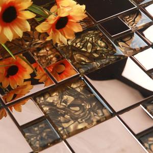 Europeu Rose Gold Metal Shell Glass Mosaic Tile, Chuveiro loja Boutiques Gabinete decoração da parede de fundo lareira