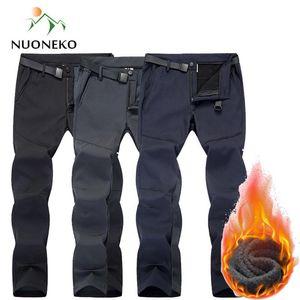 NUONEKO Hiver réfléchissant Pantalons pour hommes chauds Outdoor Polaires Randonnée Pantalon Sport Trekking Ski Pantalons épais imperméables