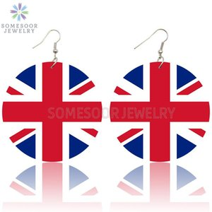 SOMESOOR United Kingdom National Flag Loops Wooden Drop Earrings Britain England UNION JACK Design Print Dangle For Women Gifts