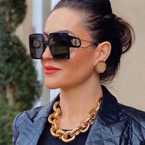 موضة النظارات الشمسية مصمم ساحة نظارات شمسية نسائية خمر المتضخم 2021 الاتجاه أنثى نظارات شمسية ظلال للنساء
