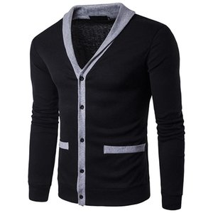 2021 New Fashion Autumn Patchwork Men's Sweaters High Quality V-Neck Splice Thin Cardigan Casual Coat Men Sweater Knitwear