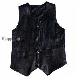 Harppihop genuino de los hombres de cuero de piel de oveja chaleco de primavera y verano chaleco de piel de cuero genuina masculina más el tamaño 5XL 6XL envío libre ShKK #
