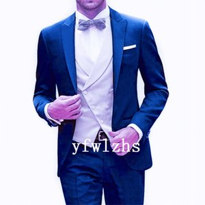 Classic One Button Handsome Groomsmen Peak Lapel Groom Tuxedos Men Suits Wedding Prom Best Man Blazer ( Jacket+Pants+Vest+Tie) W582