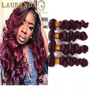 99J Virgin Rouge Cheveux Bundles Loose Wave 4 Pcs Lot Dark Rouge Human Hair Weave Eurasian Vierge Cheveux Extensions