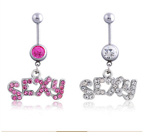 Silver Pink SEXY Sexy Crystal Body Piercing Surgical Button Belly Ring Jewelry Navel Bar