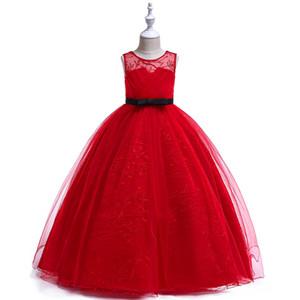 Junge Mädchen große einfache hübsche rote graue hohle Bogengürtelspitze gestickte Party Hochzeitsabschluss Scrub Mopping Maxi Kleid