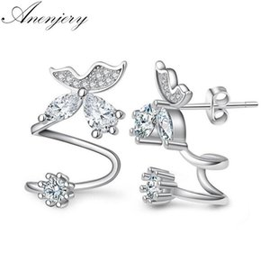 ANENJERY ANENJERY 925 Sterling Silver Butterfly Shiny CZ Zircon Orecchini per le donne Pendientes Oorbellen Boucle D'oreille Regalo S-E333