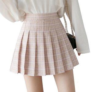 QRWR Летние юбки 2020 Новый корейский высокий талию плед мини женские школы девушки сексуальная милая плиссированная юбка с молнией