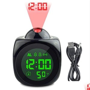 Projection Alarm Clock With Led Lamp Digital Voice Talking Function Led Wall Ceiling Projection Alarm Sn Temp jllspj bdebag