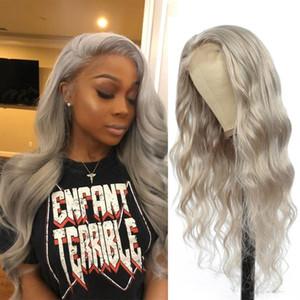 Pelucas peluca delantera de plata gris Cuerpo cordón de la onda brasileña Remy Pre desplumados Cabello humano Negro Para Mujeres SOKU 150% 13x4 Densidad peluca de encaje
