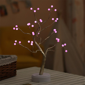 2020LED Night Light pearl Mini Christmas Tree Copper Wire Garland table Lamp Kid Bedroom Fairy Luminary Holiday home Decoration gift
