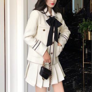 Kore Sonbahar Kış Yün 2 Parça Set Kadınlar Iki Parçalı Set Yay Tüvit Ceket Ceket + Kadınlar Için Kısa Pileli Etek Setleri Kıyafetler 201027