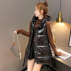 2020 Winter Women's Long Vest Shiny Solid Hooded Sleeveless Jacket Plus Size Stand Collar Cotton Padded Thick Casual Outwear