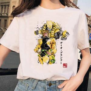 DLRN Jojo Bizarre Adventure Fashion Femmes T-shirts T-shirts Tees graphiques Japonais Anime imprimé manches courtes Casual Tops blancs