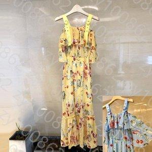 Summer women's 2021 summer new high waist slim Floral Dress Chiffon Skirt suspender dress