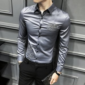 Spring Men Shirt Long Sleeve Dress Shirt Embroidery Casual Slim Fit Streetwear Prom Party Social Tuxedo Shirt Work Clothing 201022