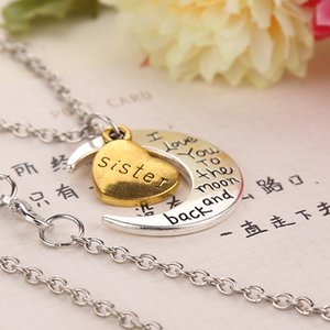 2018 father's day Lovers Jewelry Silver Gold Family Members I Love You To The Moon and Back Heart Pendant Necklace Family Gift ZJ-0903220