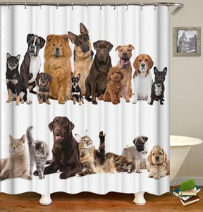 욕실 홈 인테리어 180x200cm X1018 방수 폴리 에스테르 커튼 대형 3D 블랙 아웃 커튼 커튼 동물 고양이 개 사자 곰 샤워