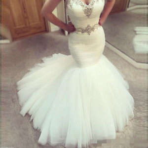 2021 Sexy Long Mermaid Wedding Dresses Sweetheart Sleeveless Country Tulle Beads Crystal Waist Plus Size Bride Party Gowns Vestidos De Novia