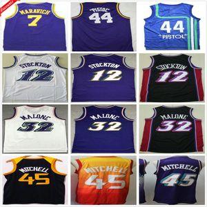 Rétro Vintage Classic Basketball Jerseys John 12 Stockton Karl 32 Malone 44 Pistol 44 Pistolet Pete 7 Maravich NCAA Donovan 45 Mitchell Jersey