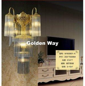 Новый латунный E14 Европейский классический античный дизайн светодиодный латунный настенный светильник Sconce со стеклянным тенистом лампы блеск