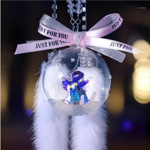 Birthday gift Transparent Snowflake Crystal Ball Car Accessories Car Rearview Mirror Angel Decoration pendant1