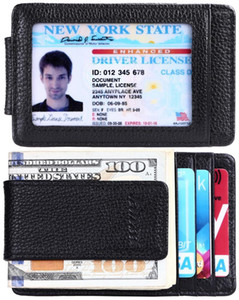 whole saleLeather Front Pocket Money Clip Wallet RFID Blocking Strong Magnet Clip Ultra-Thin Genuine Leather ID Case1