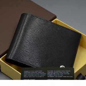 Top High quality Cowhide Wallet Classical Design Black Genuine Leather Credit card Wallets and Luxury Man Shirt Cufflinks with Original Box