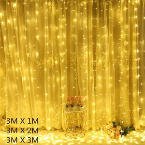 Decorazioni natalizie per la casa 3 * 3m 300leds Tenda String Light LED Ghirlanda Decorazioni natalizie Luci Fata EU 220 V Y201020