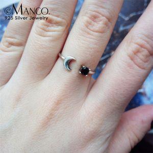 e-manco 925 실버 결혼 반지 여성을위한 스털링 실버 오픈 링 달 모양 클래식 지르콘 파인 쥬얼리 낭만적 인 사랑 선물 Y200323