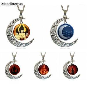 Für Unisex Modeschmuck Vintage Glas Halskette mit Crescent Moon The Last Airbender Fire Nation Emblem Aang Korra ZUKO1
