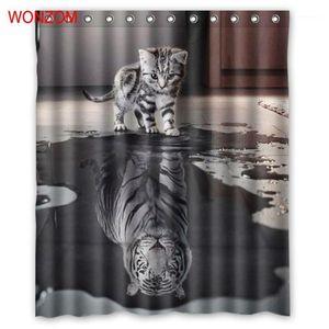 곰팡이 호랑이와 고양이 샤워 커튼 곰팡이 방지 욕실 장식 현대 동물 목욕 방수 커튼 gift1