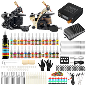 New Solong Tattoo Starter Complete Tattoo Kit 2 Professional Coils Machine Guns Set 10 Inks Power Supply Needle Grips Tips TK222