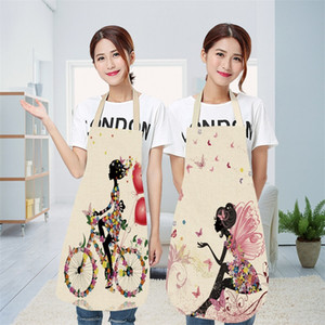 Cotton Linen Apron Women DIY Butterfly Elves Printed Pinafores Kitchen Chef Cooking Cartoon Lace Up Daidle Fashion Accessories New 8 5mya G2