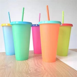 5pcs set 24oz Thermochromic Cup Magic Plastic Drinking Color Change Tumbler with Straws Temperature Sippy Mug Candy Color Coffee Tea Water