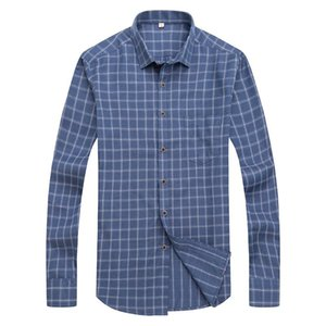 Men's Business Dress Shirts Male Formal lattice Button-Down Collar Shirt Fashion Style Spring&Autumn Men's Casual Shirt