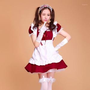 Kadınlar için Cadılar Bayramı Kostümleri Hizmetçi Artı Boyutu Seksi Fransız Hizmetçi Kostüm Tatlı Gotik Lolita Elbise Anime Cosplay Sissy Üniforma1