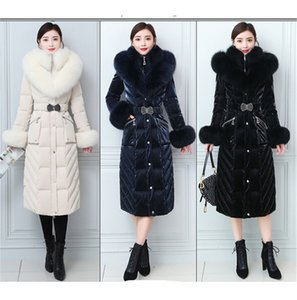 2020 New Style Real Fox Big Fur Collar Wash-Free Bright Surface Fur Down Jacket Women's Long Below The Knee Slim Fit Thickened
