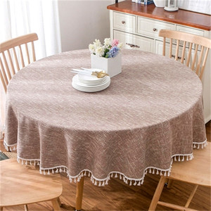 American pastoral round tablecloth tablecloth, solid color cotton and linen round coffee table cloth LJ201223