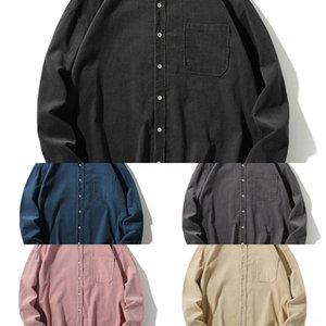 CL2DA 2020 Wick shirt Autunno Nuovo Wick manica lunga manicotto di colore solido F295 velluto a coste shirt da Uomo Autunno Nuove 2020 lunghi soli bavero uomini