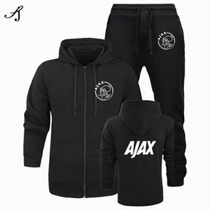 2020 New Fashion Ajax Men's Sportswear Two-piece Cotton Fleece Thick Hoodie + Pants Sports Suit Male