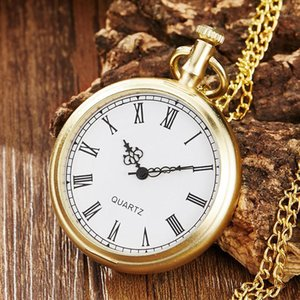 Vintage ouro poceket relógio homens mulheres cadeia colar pingente moda original número romano dial steampunk homens bolso relógios1