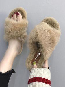 Shoes Low Slippers Flat Slides Flock Fur Flip Flops Slipers Women Female Tap Massage Plush 2020 Hawaiian Rome Rubber Autumn