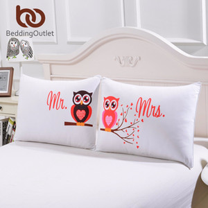 BeddingOutlet Body Pillowcase Mr and Mrs Owls Romantic Pillow Case Soft Pillow Cover Valentines Day Gift Home Textiles One Pair